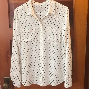 LOFT Polka dot button down shirt